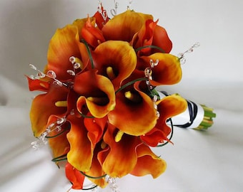 RESERVED, orange/deep/burnt, persimmon, yellow/golden, bouquet, Real Touch flowers, silk, wedding, calla lily / lilies, silver, crystals