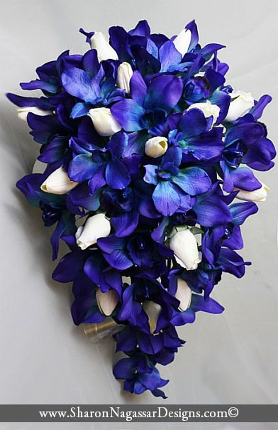 Deep Bluepurple Orchids Cobalt Royal Navy White Cascade Etsy