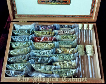 Witchcraft Herb Kit for the Beginning Witch complete with bottles and a wooden storage box, Wicca Herbs, Witchcraft Supply, Wicca Supplies