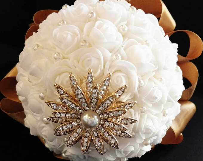 Sweet & Petite White Rose and Gold Bouquet