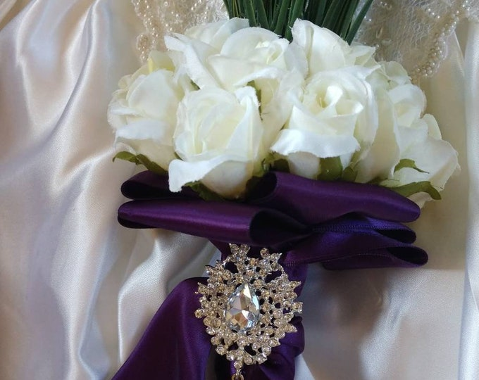Lovely Lavender and White Rose Bridal or Bridesmaids Bouquet