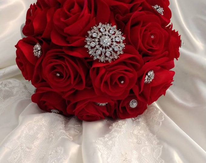 Red & Black Bridal Bouquet