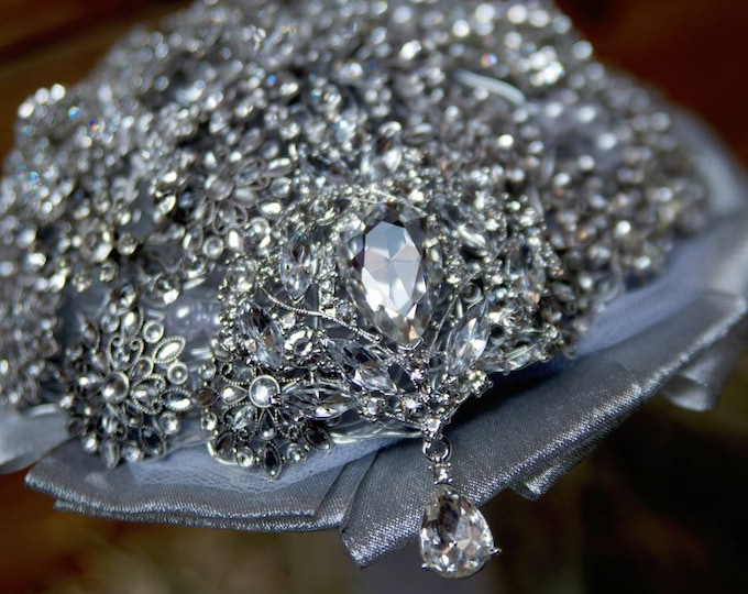Silver & Crystal Encrusted Brooch Bouquet