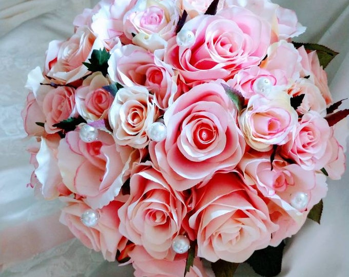 Soft Pink Rose Bouquet with Rhinestone Encrusted Pearls