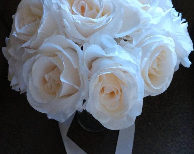Long Stem Blush Cream Rose Bouquet for Wedding, Quinceanera, First Communion, etc..
