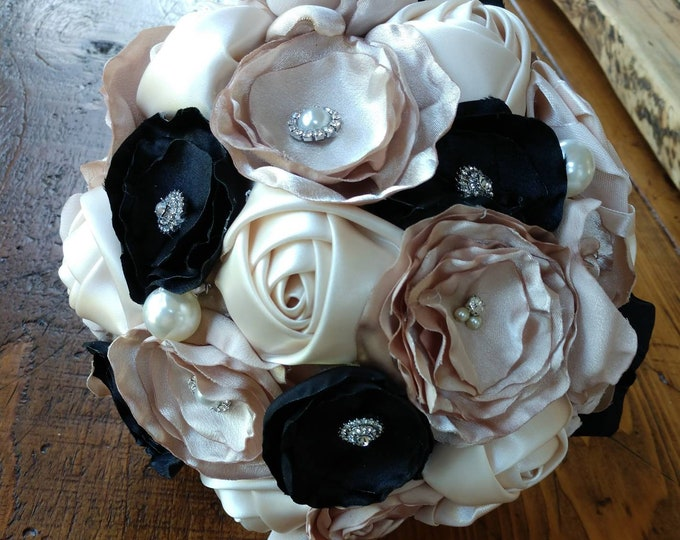 """Champagne, Ivory and Black Broche Bouquet  and Wedding Pieces """"Reserved for Erica"""""""