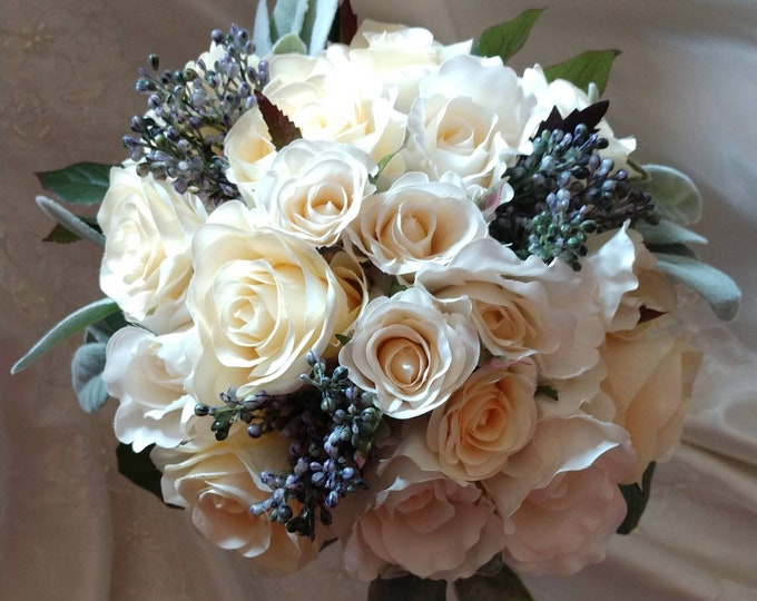 Lovely Ivory Rose Bouquet and Boutonnière