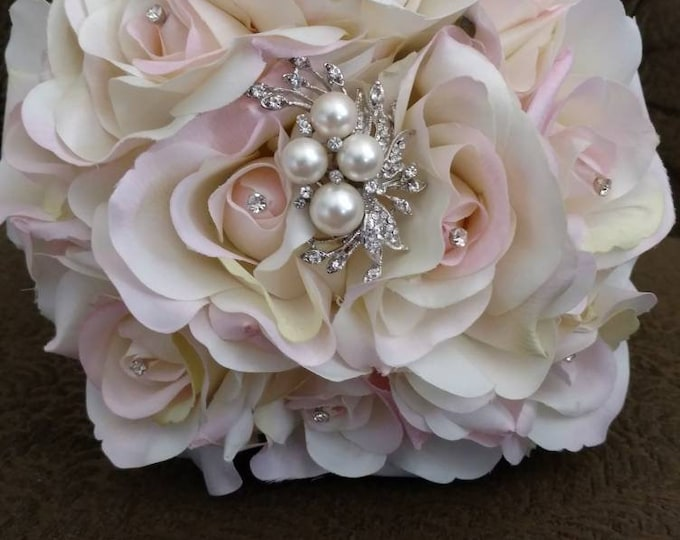 Lovely Blush Rose Bouquet with Rhinestones and Pearls