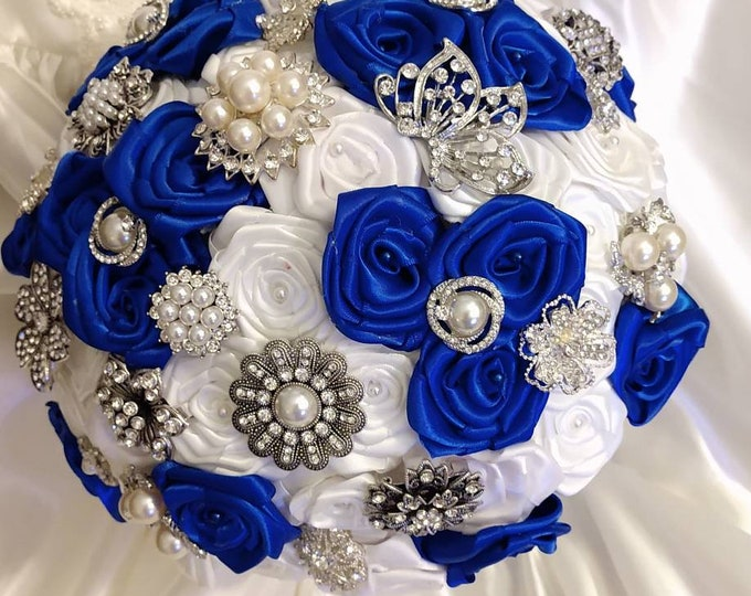 Royal Blue, White and Silver Brooch Bouquet
