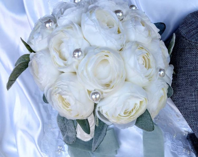 Vintage Inspired Creamy White Ranunculus Bouquet for Brides, Bridesmaids, or Quinceanera