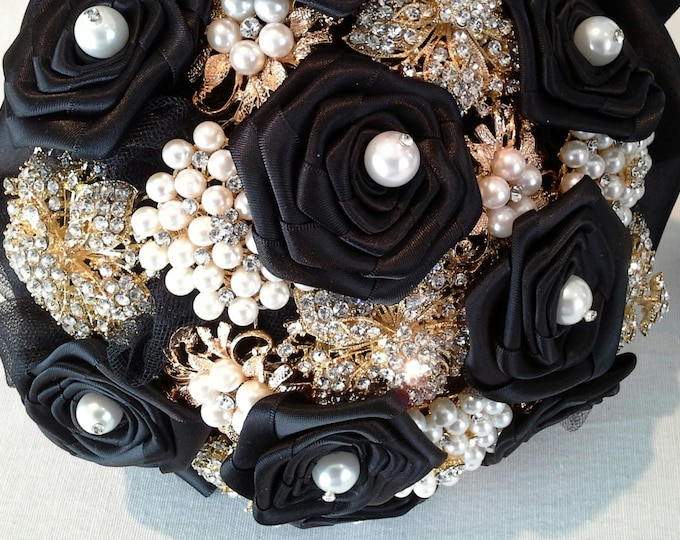 Black & Gold Brooch Bouquet