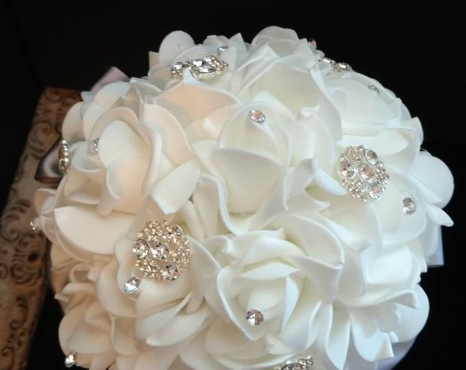 White Rose Bouquets for Bridesmaids, Confirmation, Quinceanera