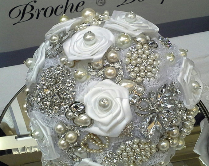 White Satin & Lace Brooch Bouquet