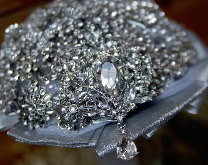 Silver & Crystal Encrusted Brooch Bouquet