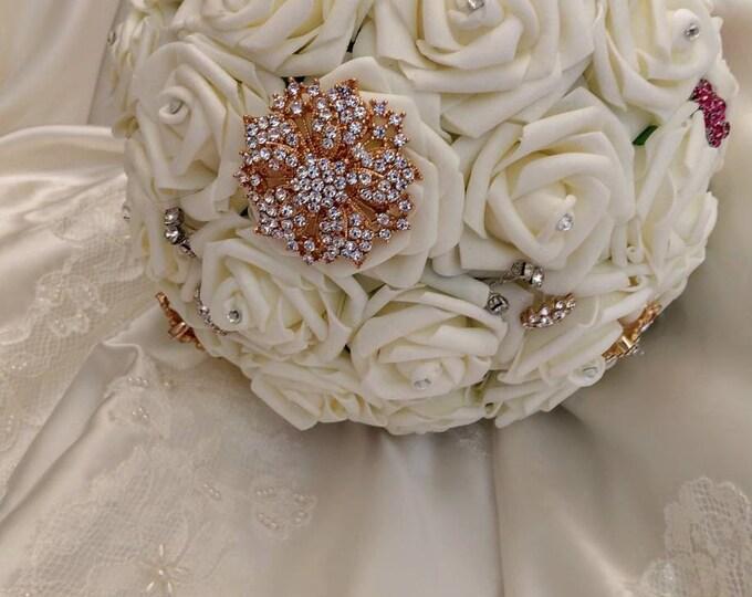 Elegant Ivory Rose, Gold and Fuschia Bouquet