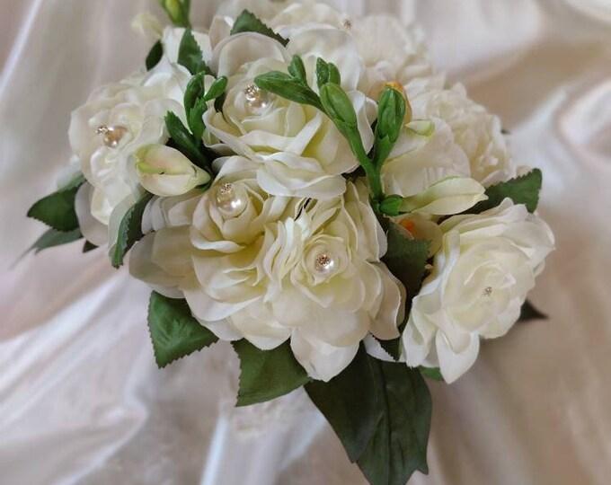 Elegant Winter White Gardenia and Peony Bouquet