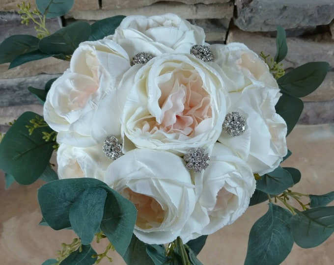 Blush Pink Cabbage Rose Bouquet with Eucalyptus Stems