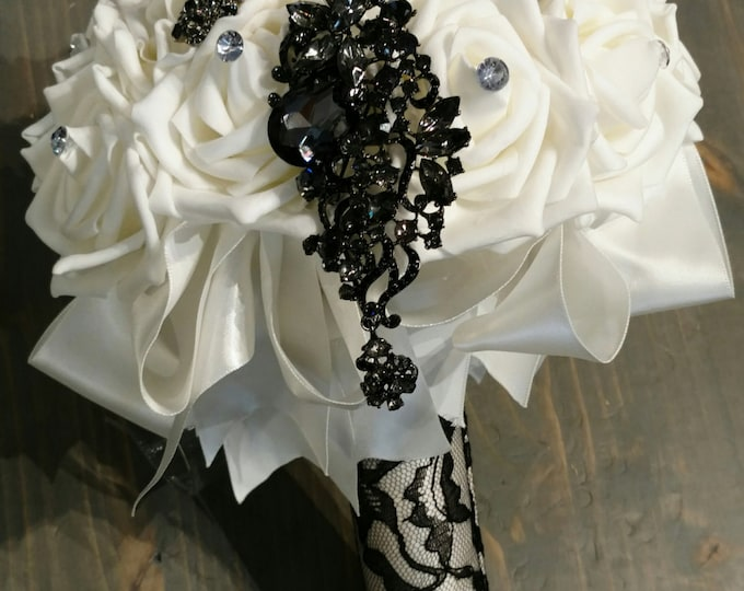 Ivory Rose and Black Lace Brooch Bouquet