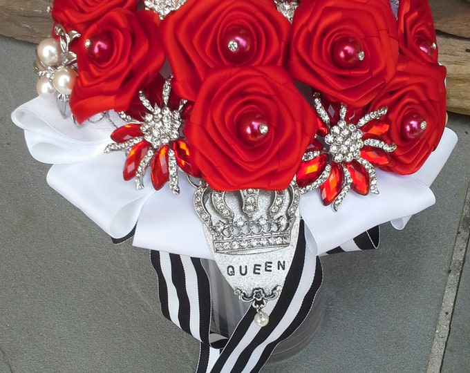 """Red """"Queen Of Hearts"""" Brooch Bouquet with just the right touch of """"Whimsy!"""""""