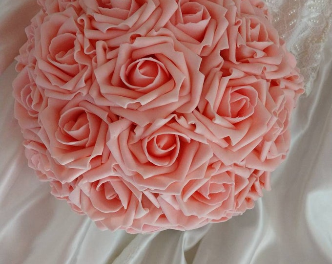 Soft Pink Rose Bouquet perfect for Weddings, Communion, Quinceañera
