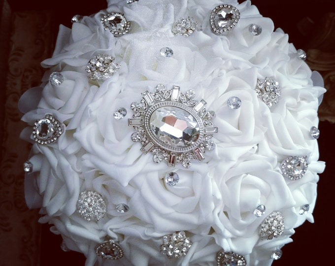 White Crystal Rose Brooch Bouquet perfect for Weddings, First Communion or Quinceanera