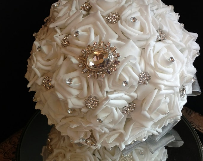 White Crystal Rose Brooch Bridal Bouquet