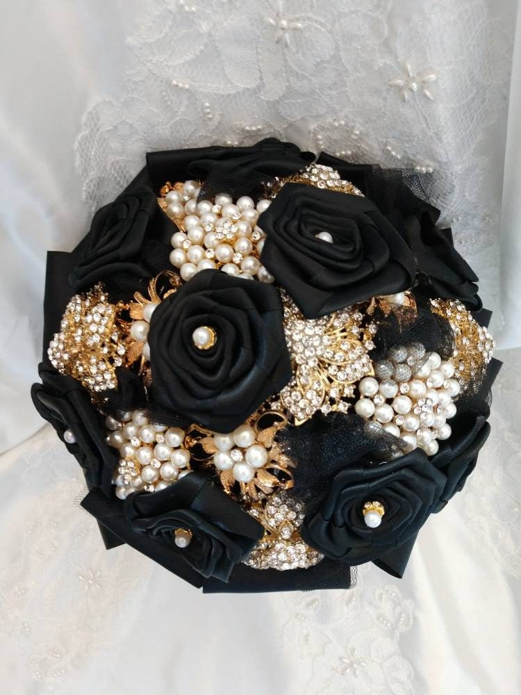 Black And White Brooch And Flower Bouquet