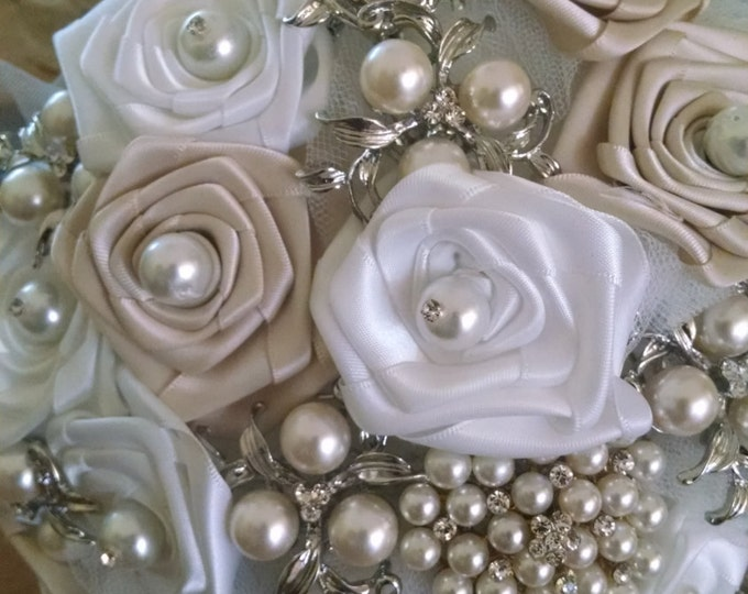 """Ivory and White Brooch Bridal Bouquet filled with Pearl Brooches and """"Something Blue"""""""