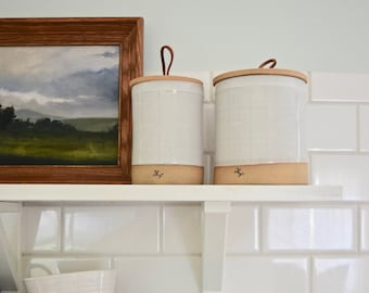 Unique gift ideas etsy canister with leather handle crock with lid handmade one of a kind pottery kitchen storage counter styling wedding registry negle Images