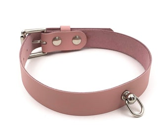 Leather D Ring Collar - Baby Pink