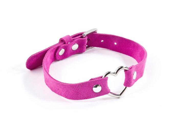 Suede Heart Ring Collar - Pink