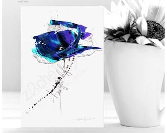 Postcard BLUMENAQUARELL - Flower Postcard - Beautiful life - Mini Art Print - Flower Picture Art Postcard - Choose From 25 BLUMEN