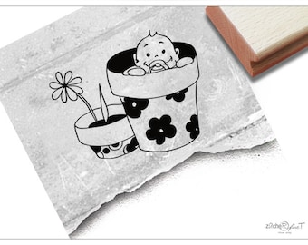 Diary Stamp 1 Piece Lace Stamp Korean Rubber Stamp Deco Stamp Flowerpot-EM62707