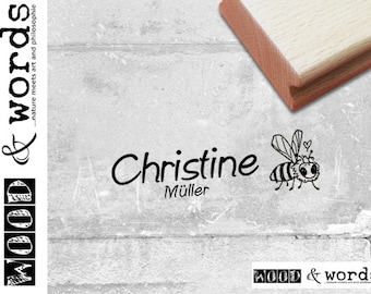 wooden stamp O gift for children Children/'s stamps personalized with name Automatic stamp Individual name Stamp detective???