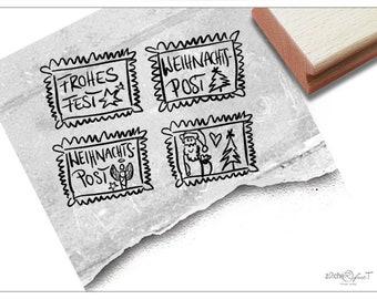 Stamp Christmas Stamp Stamp Set of 4 - Motif Stamp for Christmas, for Cards and Letters, Christmas Mail, Gift Tags, Decoration