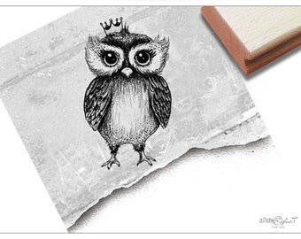 Stamp Animal Stamp Owl with Crown - Motif stamp for decorating cards and gifts, for hobby, profession, art, crafts, decoration, scrapbook