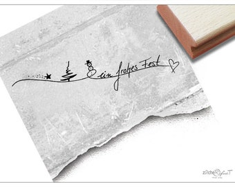 Stamp Christmas Stamp A FROHES FEST Handwriting Stamp for Christmas, for cards, gift tags, gift, Christmas decorations