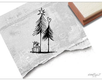 Christmas Stamp- rubber stamp - Gifts under the fir tree - for card making, as gift or for decorating christmas tags, Christmas decoration