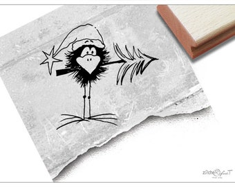Christmas Stamp - rubber stamp BIRD Raven with fir tree - Animal stamp for card making, Gift for children, for decorating christmas tags