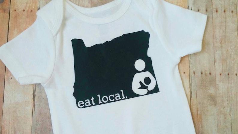 Breastfeeding bodysuit nursing baby onesie eat local baby shower gift monochrome baby outfit infant bodysuit state breastfeeding