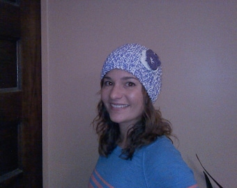 hand knit lavendar and cream winter headband with crocheted flower accent