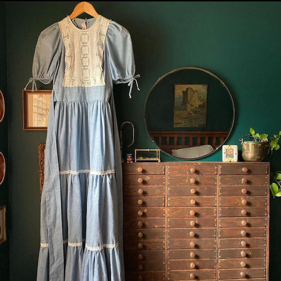 1970's Prairie Blue Maxi Dress