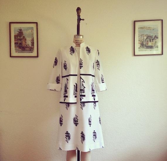 1970's /Black/White /Symbol/Dress /Suit ///Jacket