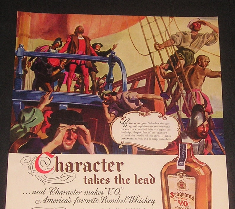 1936 Seagram's VO Whiskey / Packard Autos, Double Magazine Ad, Christopher  Columbus Illustration / Grosse Pointe, Michigan