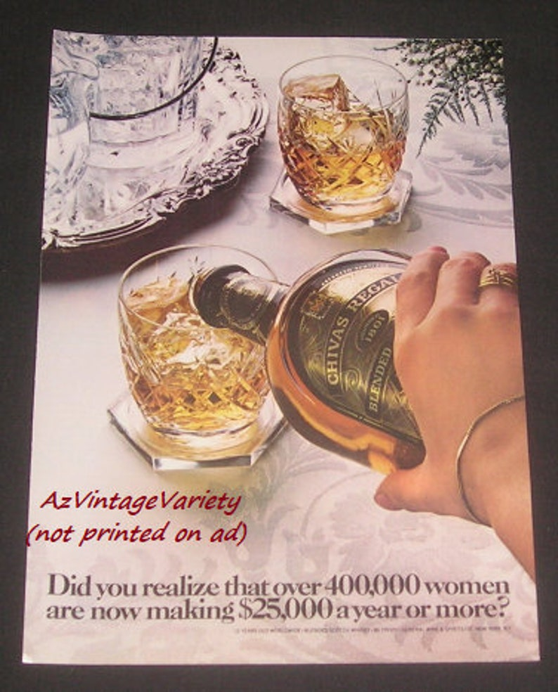 High Earning Working Women Vintage Magazine Ad 1980 Chivas Regal Scotch Whiskey