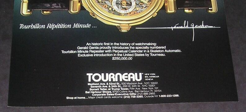 1989 Tourneau Watches, Vintage Magazine Ad, Tourbillon Minute Repeater  Watch, Gerald Genta, Swiss Jewelry Designer,