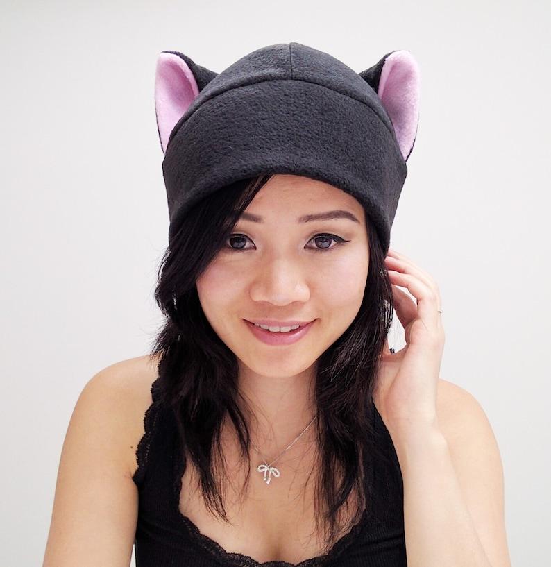 694b54bc1d64a3 Pink Cat Ears Black Cat Cat Ear Hat Kitty Cat Hat | Etsy