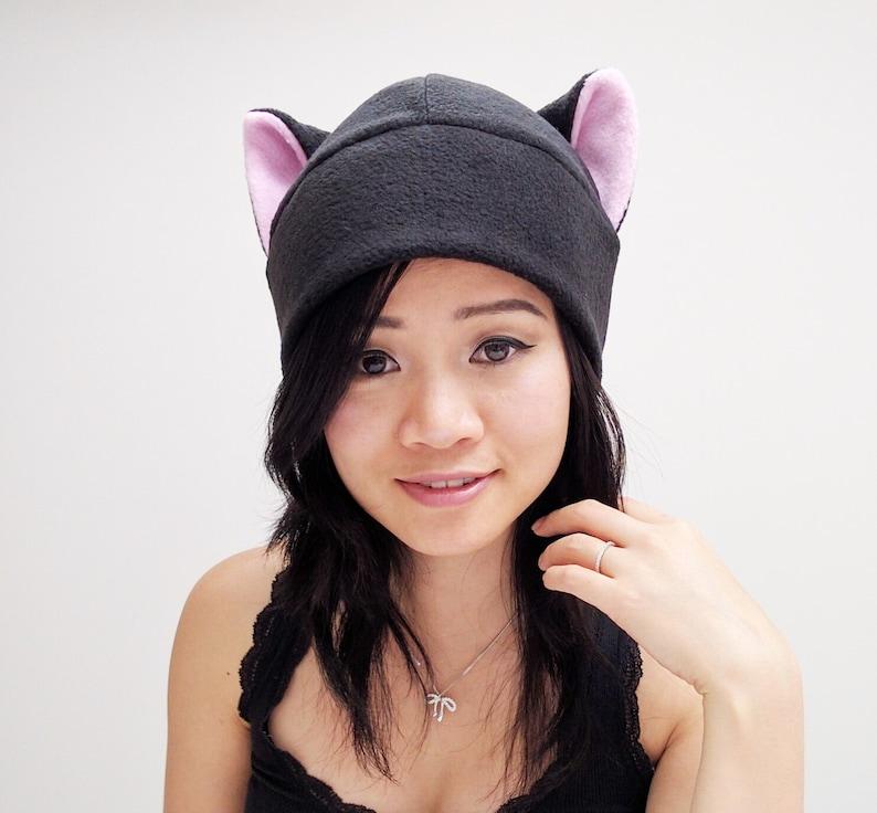 4de72a3f Pink Cat Ears Black Cat Cat Ear Hat Kitty Cat Hat | Etsy