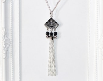 Flapper 1920's long silver necklace with fan, black & silver beads and tassel pendant