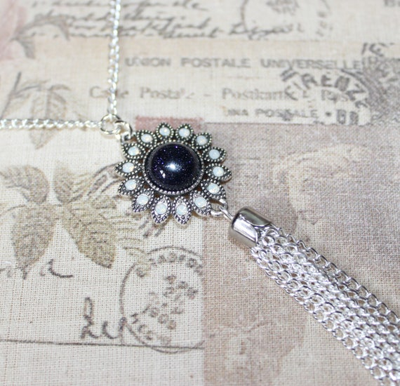 Long silver plate necklace with cute hedgehog focal bead and tassel pendant
